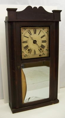 30 hour wooden works mantel clock.