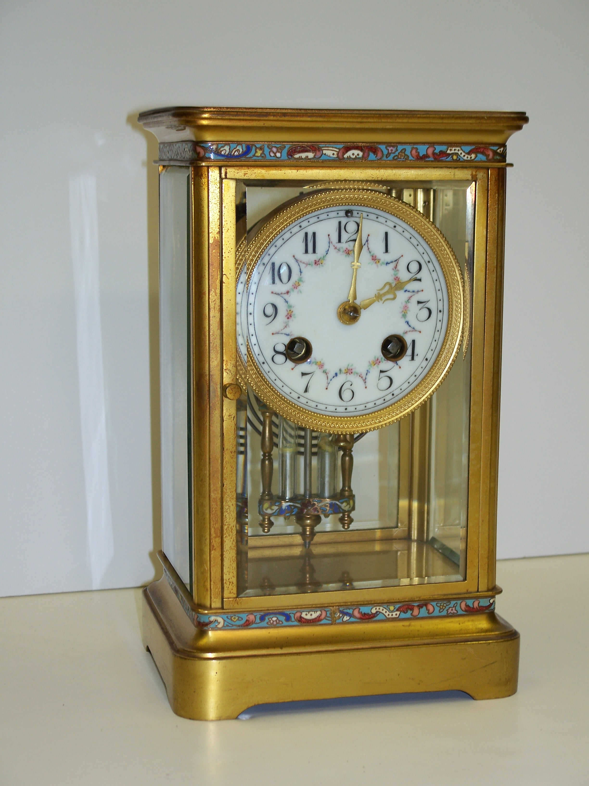 French Crystal Gong Strike Clock front