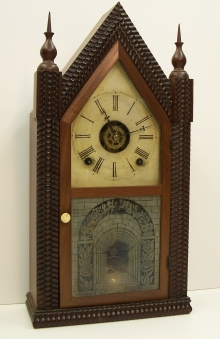 Mahogany Veneered OG Mantel Clock