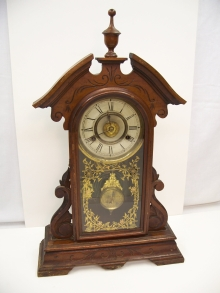 Walnut Gingerbread Mantel Clock front.